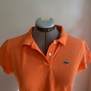 Lacoste women's cap sleeve polo shirt, orange Sz42